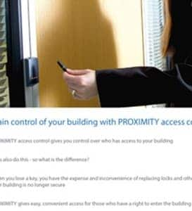 An image of s women using a security key fob to control access to a locked room