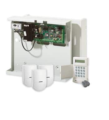Alarm system with motion sensors, key fobs and keypad