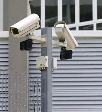 An image of highly placed cctv cameras