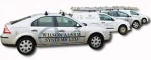 An image of the variety of vehicles Wilson Alarm Systems use.