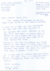An image of a handwritten letter written by a happy customer of Wilson Alarm Systems.