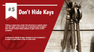 poster advising not to hide keys