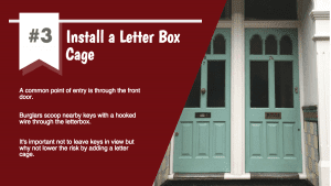 An image of a front door that has a letter box caged installed onto it by Wilson Alarm Systems Ltd, alongside a list that details why a letter box cage is advantageous.