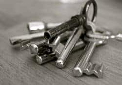An image of a silver bunch of keys on a keyring.