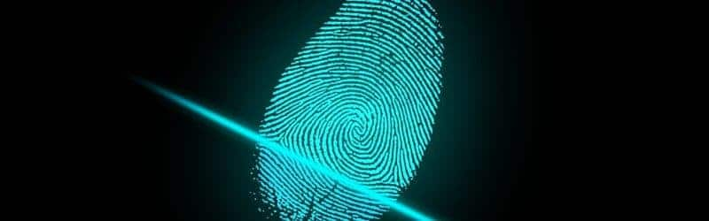 An image of a fingerprint being scanned using biometric security