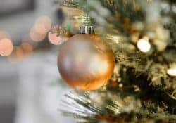 An image of a bauble on a Christmas tree is a secure home.