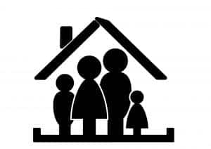 An image of a family inside a secure house.
